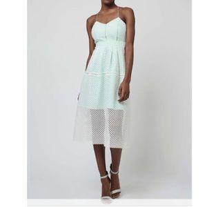 TOPSHOP White & Mint Mesh Midi Dress